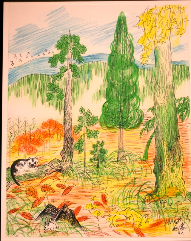 Color drawing of a cat lounging in a wooded area.
