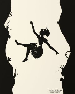 Alice falling down the rabbit hole.