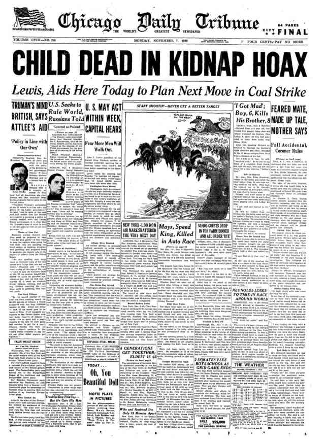 Chicago Daily Tribune front page from November 7, 1949 with headline CHILD DEAD IN KIDNAP HOAX